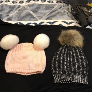 Baby girl pom pom winter hats- set of 2! 6-12M